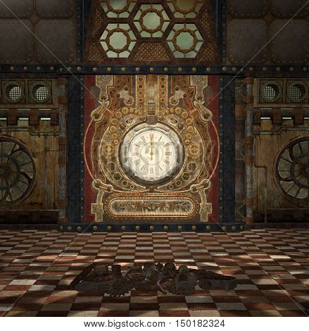 Steampunk fantasy room with clock and gears - 3D illustration