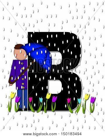 Alphabet Children April Showers B