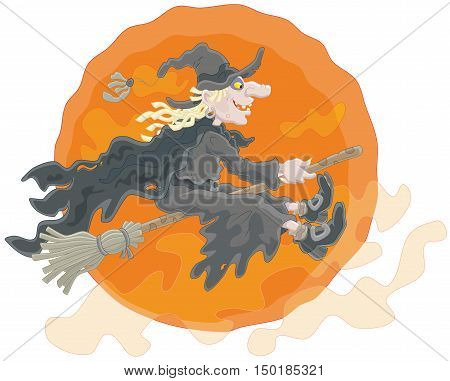 The All Hallows' Eve night, a witch in black flying on her broom