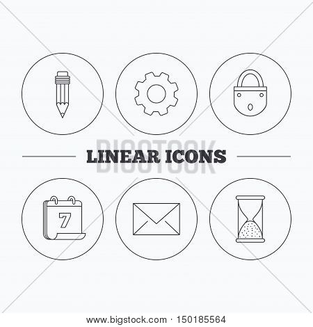 Mail envelope, pencil and lock icons. Hourglass linear sign. Flat cogwheel and calendar symbols. Linear icons in circle buttons. Vector