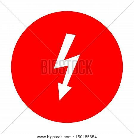 High Voltage Danger Sign. White Icon On Red Circle.