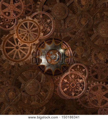 Steampunk rusty background with gears - 3D illustration