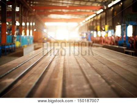 Large iron and steel plant spacious, clean warehouse