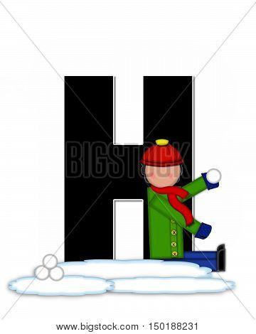 Alphabet Children Snow Fight H