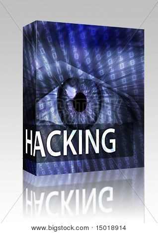 Software package box Hacking illustration, eye over digital data information