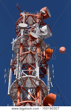 Radio technology tower on the island of Heligoland (Helgoland) North Sea of Germany. Blue sky and sunny day