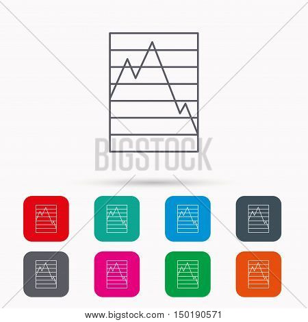 Chart curve icon. Graph diagram sign. Demand reduction symbol. Linear icons in squares on white background. Flat web symbols. Vector