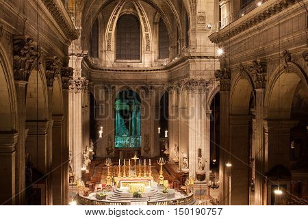 Paris, France - March 3, 2014: Interior of the Church of Saint-Sulpice. The second largest church in Paris.
