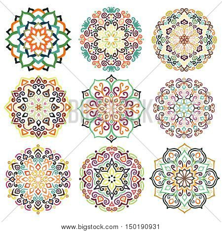 Flower design. Decorative round ornaments. Colorful mandala set. Boho decoration. Unusual flourish embellishments. Oriental boho style. Isolated floral patterns. Hand-drawn vector elements.