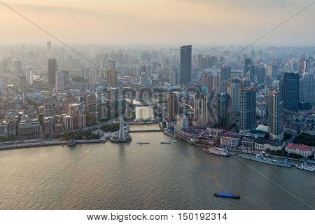 Shanghai China - October 26 2013: Shanghai cityscape sunset aerial view China.