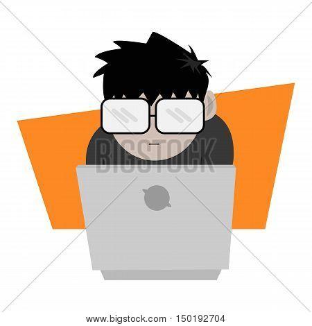 Nerd or Geek Guy with His Laptop