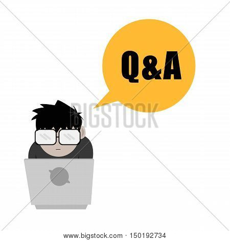 Nerd or Geek Guy with Question and Answer Bubble Speech