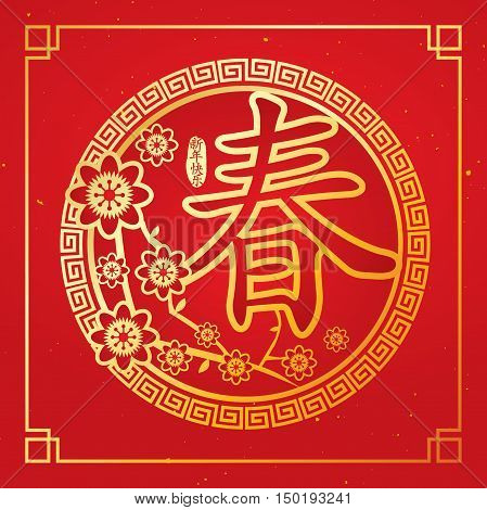 Chinese New Year card with plum blossom. Chinese Calligraphy CHUN, Translation: spring, spring season. Translation of caption: Chinese New Year