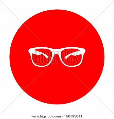 Sunglasses Sign Illustration. White Icon On Red Circle.
