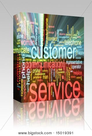 Software package box Word cloud concept illustration of customer service glowing light effect