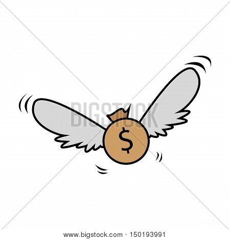 Flying or Floating Money or Dollar Flat Cartoon Illustration
