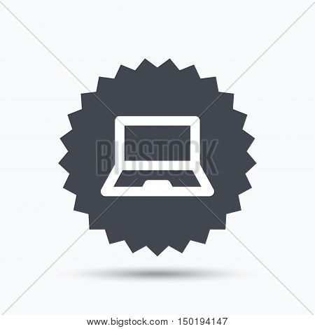 Computer icon. Notebook or laptop pc symbol. Gray star button with flat web icon. Vector