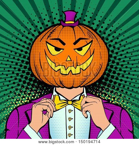 A Man In A Suit With Pumpkin Head And Smile Corrects His Bow Tie. Vector Illustration In Retro Comic