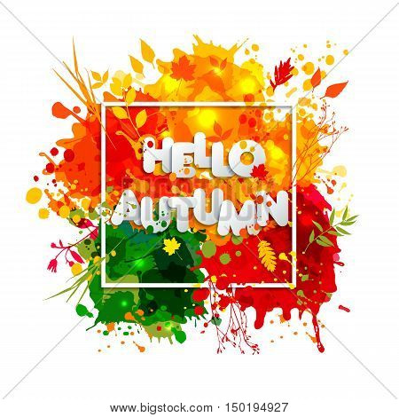 Text Autumn In Paper Style On Multicolor Blots Background