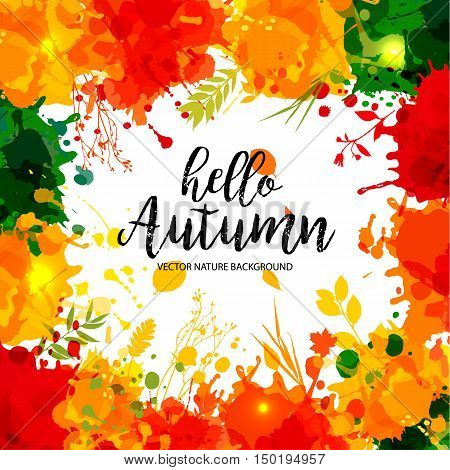 Text Hello Autumn In Frame In Paper Style On Multicolor Blots Background.