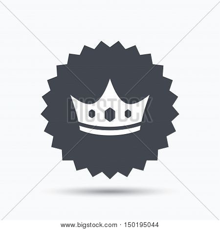 Crown icon. Royal throne leader symbol. Gray star button with flat web icon. Vector