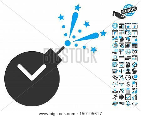 Time Fireworks Charge pictograph with bonus calendar and time management pictograph collection. Vector illustration style is flat iconic bicolor symbols, blue and gray colors, white background.