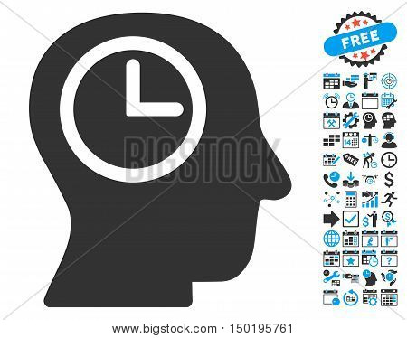 Time Manager icon with bonus calendar and time management pictures. Vector illustration style is flat iconic bicolor symbols, blue and gray colors, white background.