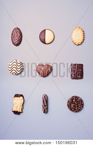 selection of cookies or biscuits in a variety of shapes
