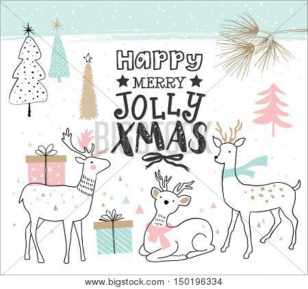 Hand drawn christmas card with cute little deers