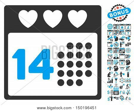 Valentine Love Day pictograph with bonus calendar and time management pictograph collection. Vector illustration style is flat iconic bicolor symbols, blue and gray colors, white background.