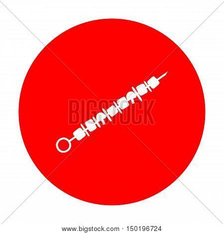 Shish Kebab On Skewers Sign. White Icon On Red Circle.