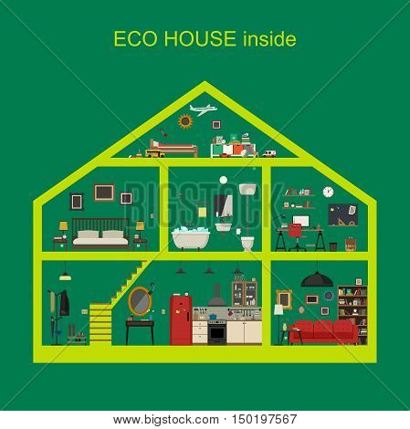 Ecological house inside interior. Vector flat house with set of basic rooms. House in cut with furniture.