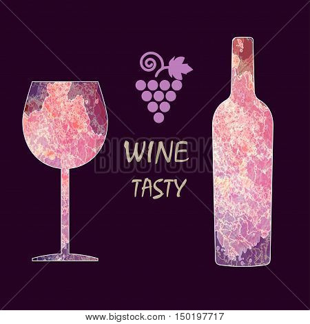 Wine tasting card infographic, grape sign, purple bottle over dark background with a purple glass. Digital vector image.