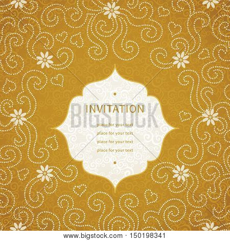 Vintage invitation card with small flowers and curls. Template frame design for greeting and wedding card. You can place your text in the empty place.