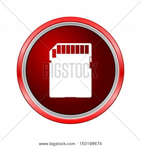 SD memory card icon, Internet button on white background