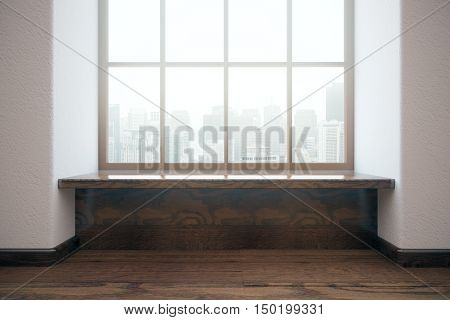 Modern unfurnished interior with wooden floor and windows with city view. Front view 3D Rendering