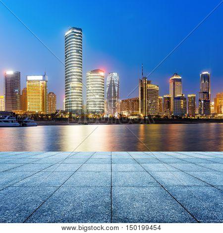 China Nanchang city landscape, Gan River side landmark building.