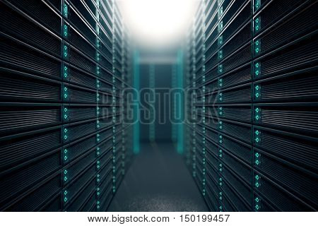 Front view of server room. Networking communication technology concept. 3D rendering