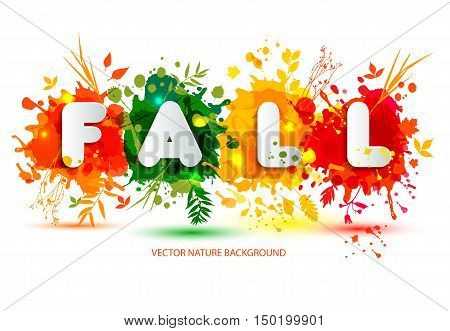 Text Fall In Frame In Paper Style On Multicolor Blots Background