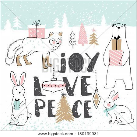 Hand drawn Christmas card with cute cartoon animals