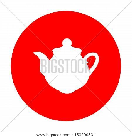 Tea Maker Sign. White Icon On Red Circle.