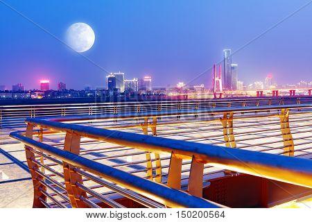 Nanchang, Jiangxi Red River Beach Gan River side of the night