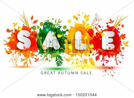 Text Sale In Paper Style On Multicolor Blots Background.