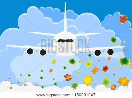 Flight of the plane in the sky. Passenger planes airplane aircraft flight clouds sky. vector illustration in Flat design