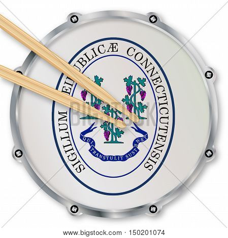 Connecticut state seal snare drum batter head with tuning screws and with drumsticks over a white background
