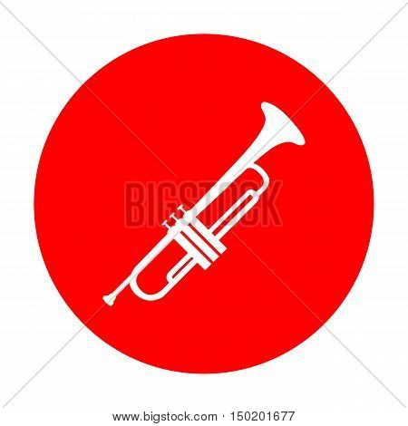 Musical Instrument Trumpet Sign. White Icon On Red Circle.