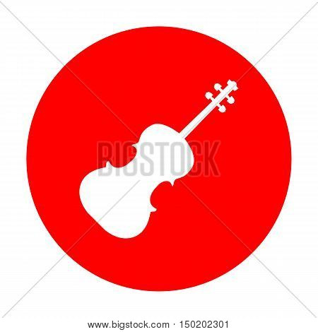 Violine Sign Illustration. White Icon On Red Circle.