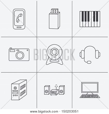 Photo camera, headphones and Usb flash icons. PC case, computer with monitor and web camera linear signs. Piano icons. Linear icons on white background. Vector