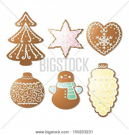 Set of Christmas gingerbread cookies and Christmas. Pearls frosting and decorations. Isolated objects. Warm tones.