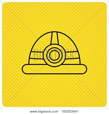 Engineering icon. Engineer or worker helmet sign. Linear icon on orange background. Vector